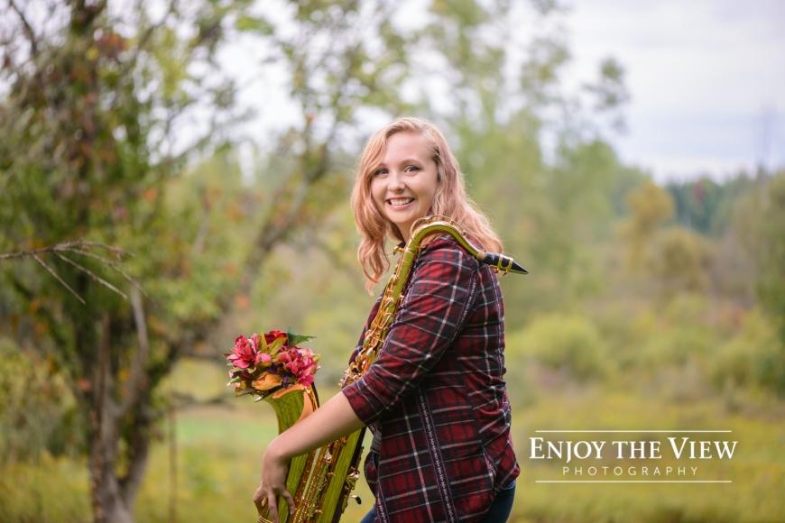 senior girl with saxophone