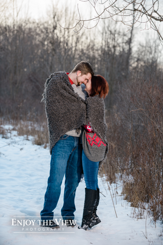 mid-michigan winter engagement session